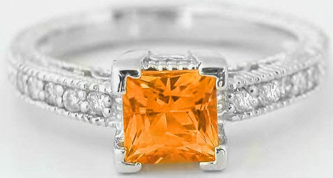 Diamond and Orange Sapphire Rings