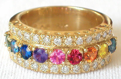 Diamond and Rainbow Sapphire Rings