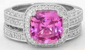 Pink Sapphire Engagement Ring and Band