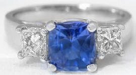 Untreated Blue Sapphire and Diamond Ring