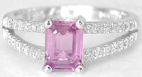 1.21 ctw Emerald Cut Pink Sapphire and Diamond Ring in 14k white gold