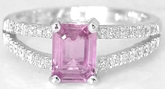 Split Shank 1.21 ctw Emerald Cut Pink Sapphire and Diamond Ring in 14k white gold