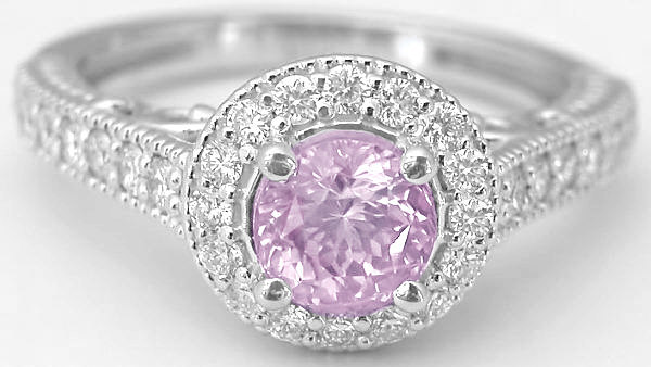 1.53 ctw Light Pink Sapphire and Diamond Halo Ring in 14k white gold
