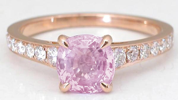 1.81 ctw Pink Sapphire and Diamond Ring in 18k rose gold