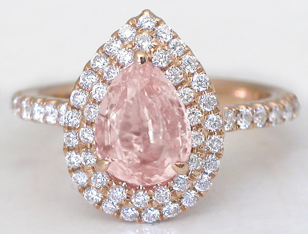 2.32 ctw Padparadscha Sapphire and Diamond Ring in 18k rose gold