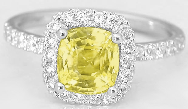 2.33 ctw Cushion Yellow Sapphire and Diamond Ring in 14k white gold