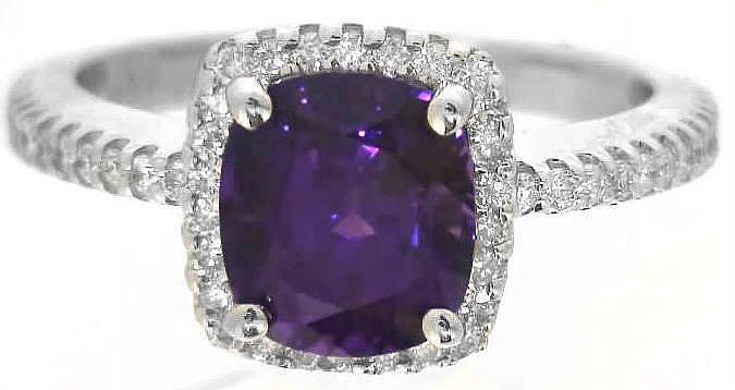 2.47 ctw Purple Sapphire and Diamond Ring in 14k white gold