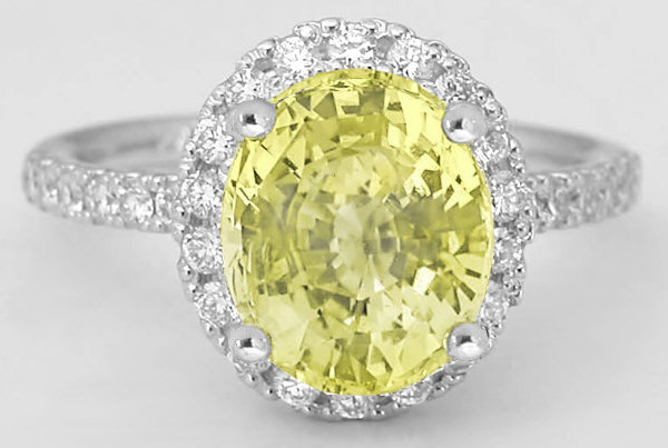 3.55 ctw Yellow Sapphire and Diamond Ring in 14k white gold