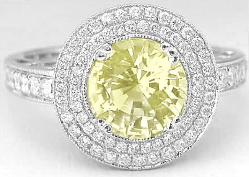 3.72 ctw Yellow Sapphire and Diamond Ring in 14k white gold