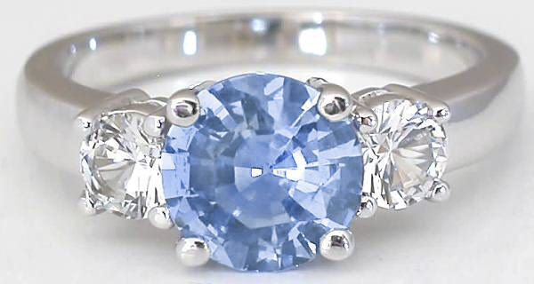 3 stone Blue and White Sapphire Ring