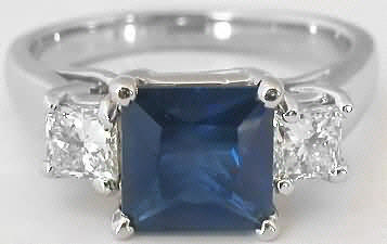 2.23 ctw Princess Cut Blue Sapphire and White Sapphire Ring in 14k white gold