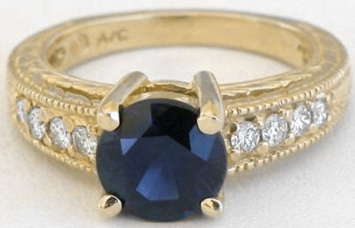 2.35 ctw Round Blue Sapphire and Diamond Ring in 14k yellow gold
