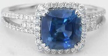 2.48 ctw Ceylon Blue Sapphire and Diamond Ring in 14k white gold