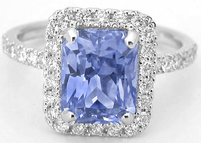 3.68 ctw Ceylon Radiant Cut Sapphire and Diamond Halo Ring in 14k white gold