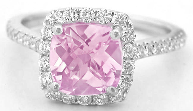 2.48 ctw Checkerboard Cut Pink Sapphire and Diamond Ring in 18k white gold