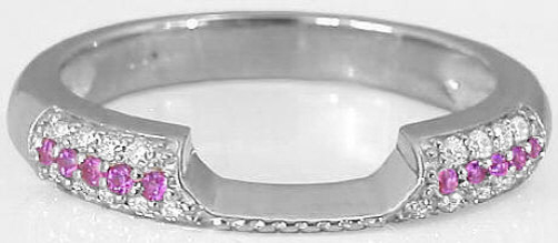 0.34 ctw Pink Sapphire and Diamond Band in 14k White Gold for ring SPR-114