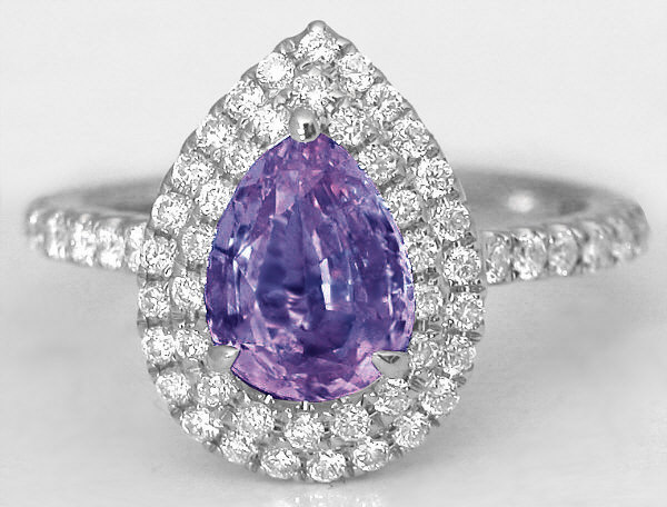 1.83 ctw Pear Cut Purple Sapphire and Diamond Ring in 14k white gold
