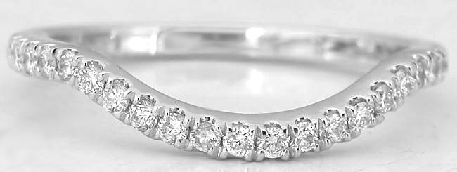 0.33 ctw Contoured Diamond Band in 18k white gold for ring SYR-100