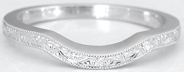 Contoured Engraved Band in 14k white gold for item SPR-111