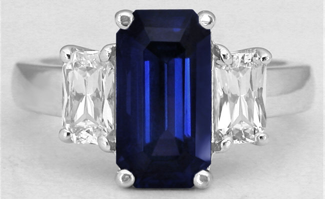 4.50 ctw Unheated Blue Sapphire and White Sapphire Ring in 14k white gold