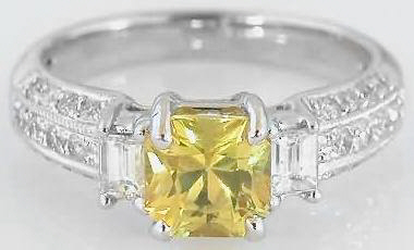 2.47 ctw Unheated Radiant Cut Bright Yellow Sapphire and Diamond Ring in 18k gold