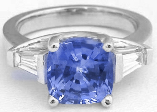 4.00 ctw Unheated Ceylon Sapphire and Baguette Diamond Ring in 14k white gold