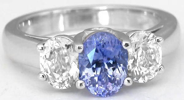 Past Present Future 2.66 ctw Ceylon Blue Sapphire Ring in 14k white gold