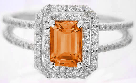 1.33 ctw Emerald Cut Orange Sapphire and Diamond Ring in 14k white gold