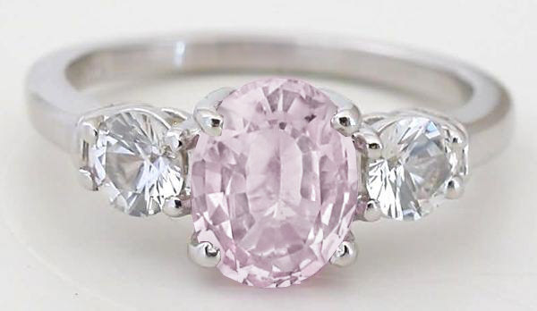 Three Stone 2.37 ctw Unheated Pink Sapphire and White Sapphire Ring in 14k gold