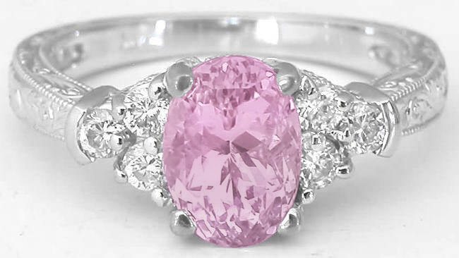 2.39 ctw Unheated Light Pink Sapphire and Diamond Ring in 14k white gold