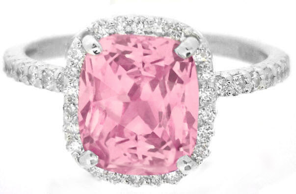 3.84 ctw Fine Quality Peachy Pink Sapphire and Diamond Ring in 14k white gold