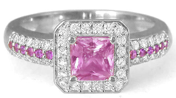 1.57 ctw Princess Cut Pink Sapphire and Diamond Ring in 14k white gold