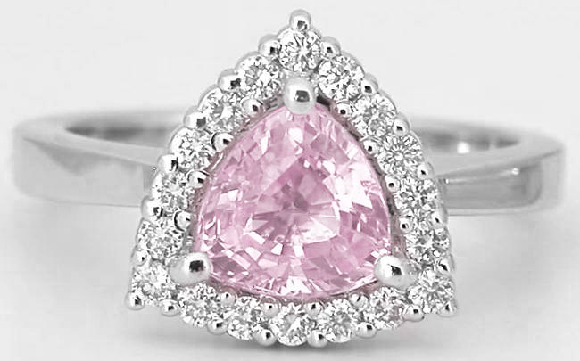 1.59 ctw Trillion Pink Sapphire and Diamond Ring in 14k white gold