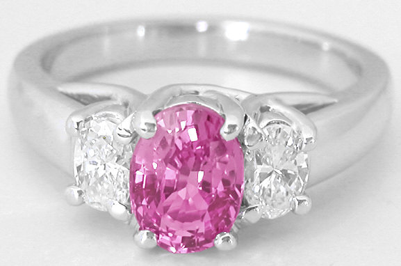 1.58 ctw Pink Sapphire and Diamond Ring in 14k white gold
