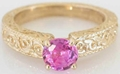 Ornate Pink Sapphire Solitaire Ring