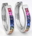 Princess Cut Rainbow Sapphire Earrings in white gold