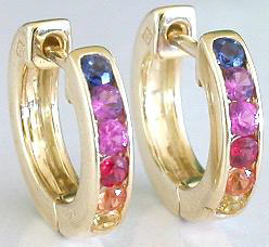 Rainbow Sapphire Hoop Earrings