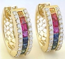Rainbow Sapphire and Diamond Earrings