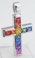 Princess Cut Rainbow Sapphire Cross