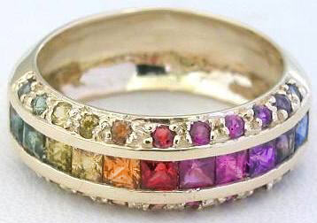 Round and Princess Rainbow Sapphire Ring