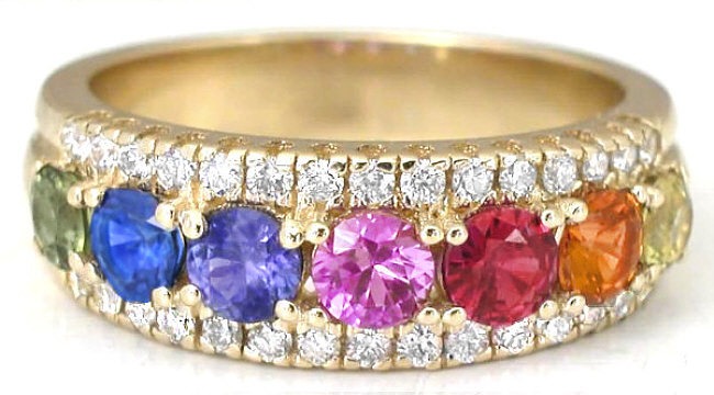 2.6 ctw Ceylon Round Rainbow Sapphire and Diamond Ring in white gold