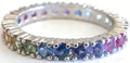 Prong Set Rainbow Sapphire Eternity Band