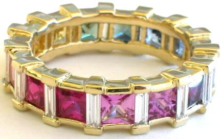 Pink Sapphire Baguette Rings