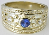 0.37 ctw Etruscan Sapphire and Diamond Ring in 14k yellow gold