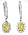 Oval Yellow Sapphire Drop Earrings with Diamond Halo in 14k white gold
