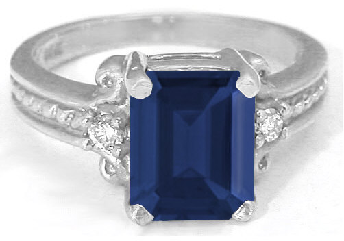 3.35 ctw Emerald Cut Sapphire and Diamond Ring in 14k white gold