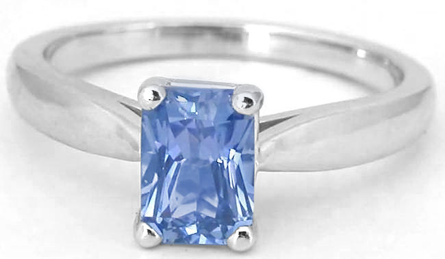 1.07 carat Radiant Cut Ceylon Blue Sapphire Solitaire Ring in 14k white gold