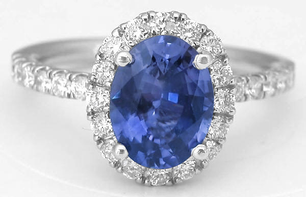 2.53 ctw Color Change Sapphire and Diamond Ring in 14k white gold