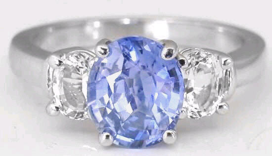 3 31 ctw ceylon sapphire and white sapphire ring in 14k