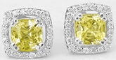 Cushion Yellow Sapphire Diamond Halo Earrings